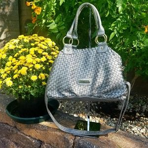 GUC Steve Madden Leather Woven Silver/Pewter Bag